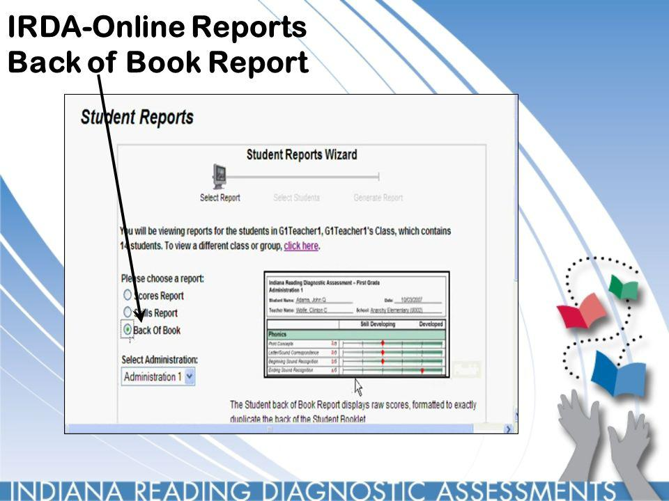 IRDA-Online Reports Back of Book Report