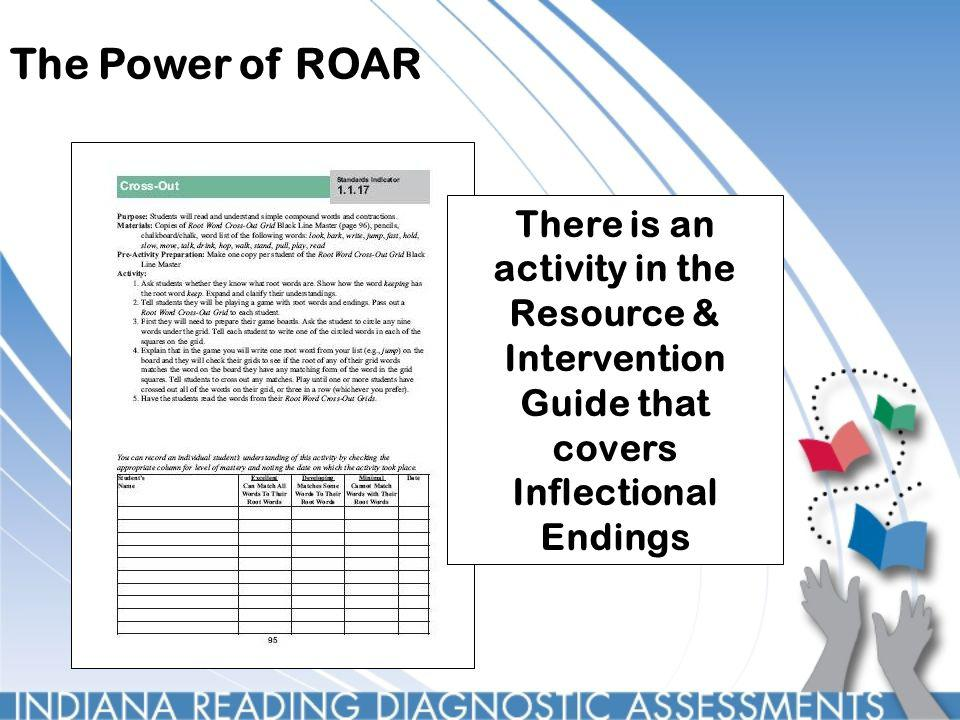 The Power of ROAR There is an activity in the Resource & Intervention Guide that covers Inflectional Endings