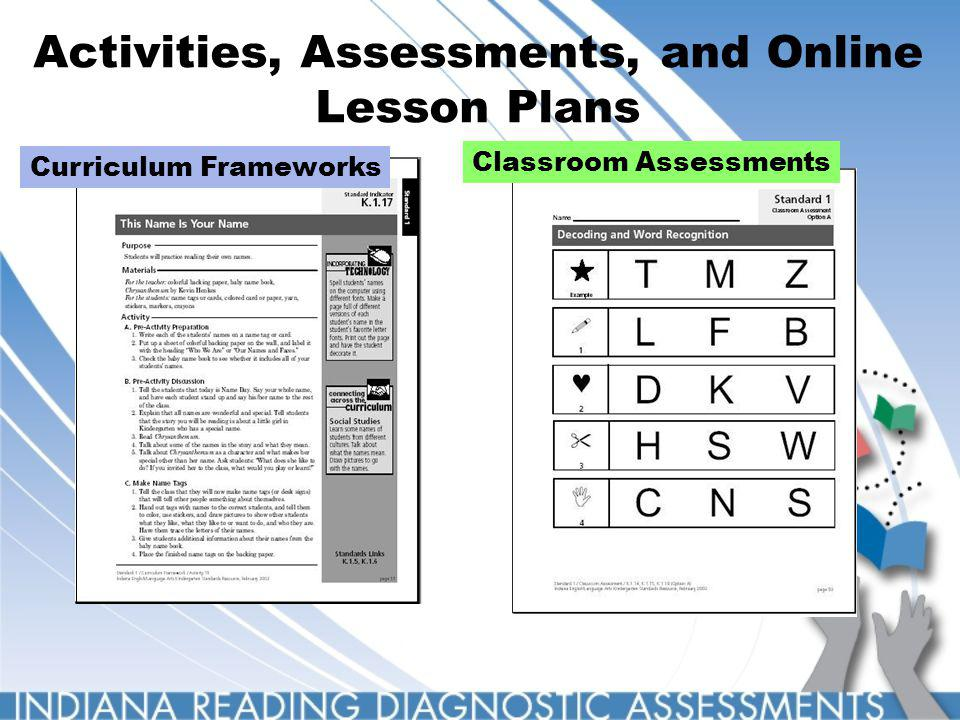 Activities, Assessments, and Online Lesson Plans Curriculum Frameworks Classroom Assessments