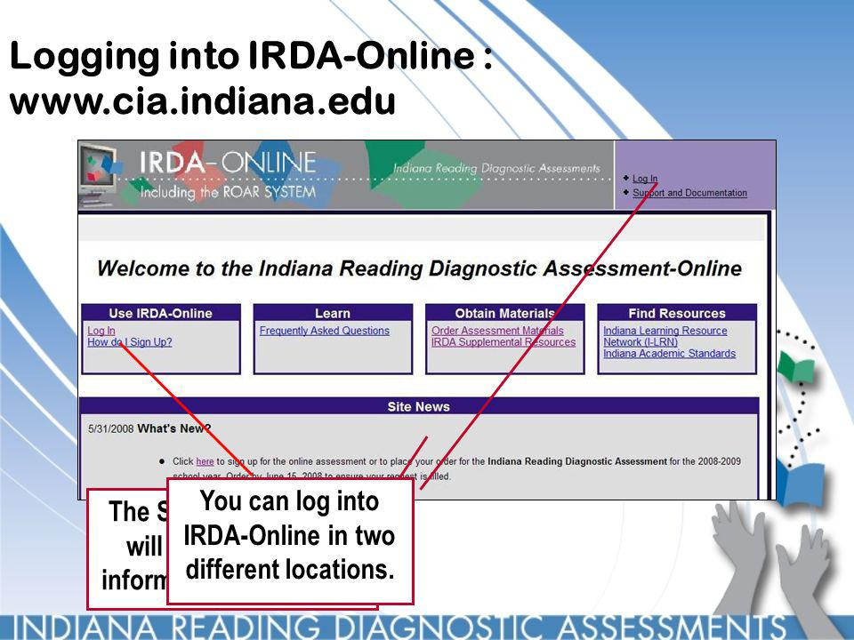 Logging into IRDA-Online : www.cia.indiana.edu The Site News section will have important information about IRDA You can log into IRDA-Online in two different locations.