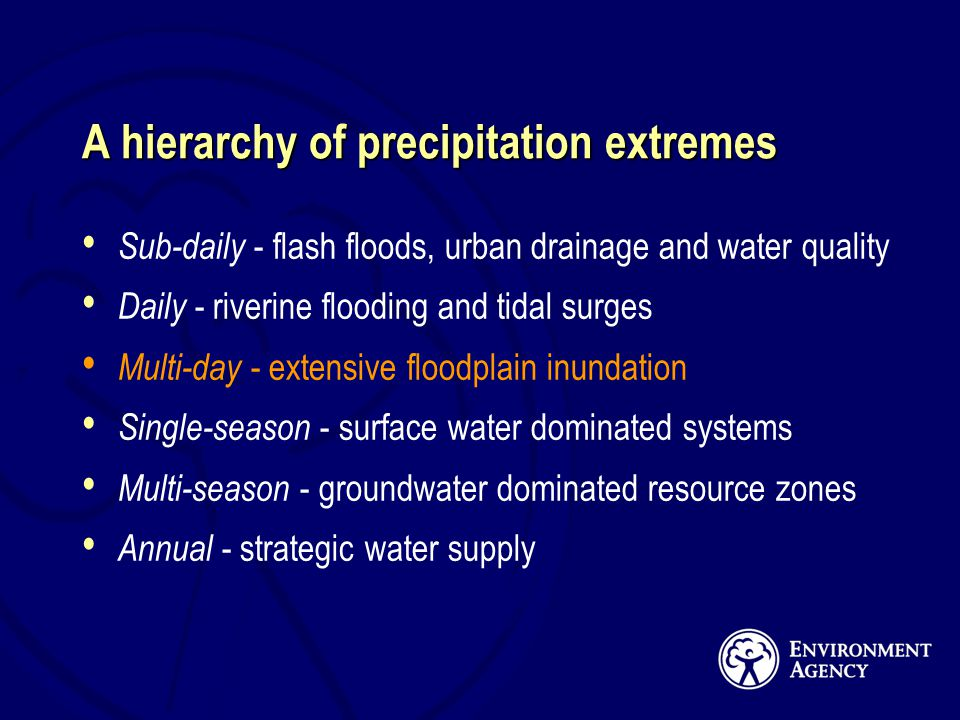 A hierarchy of precipitation extremes Sub-daily - flash floods, urban drainage and water quality Daily - riverine flooding and tidal surges Multi-day - extensive floodplain inundation Single-season - surface water dominated systems Multi-season - groundwater dominated resource zones Annual - strategic water supply