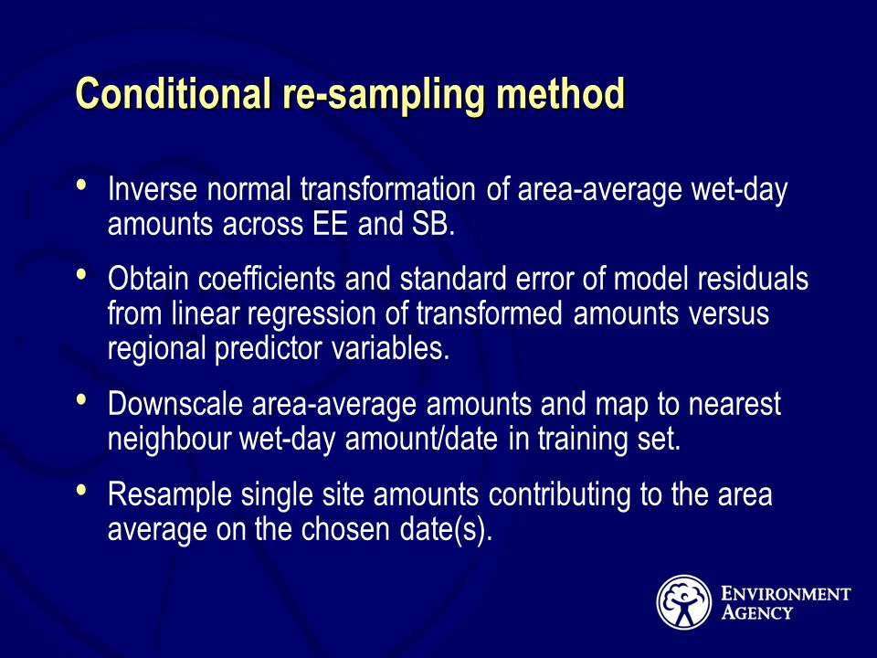 Conditional re-sampling method Inverse normal transformation of area-average wet-day amounts across EE and SB.