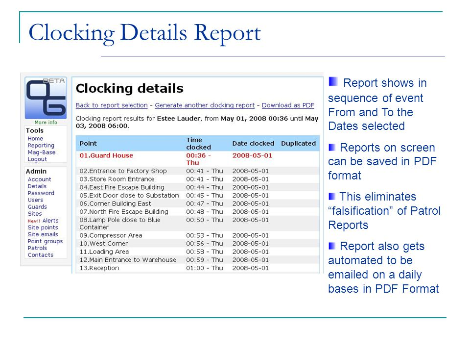 Clocking Details Report Report shows in sequence of event From and To the Dates selected Reports on screen can be saved in PDF format This eliminates