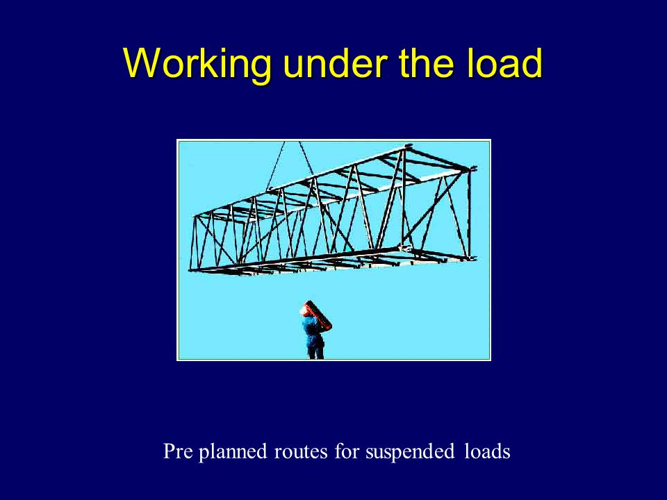 Working under the load Pre planned routes for suspended loads