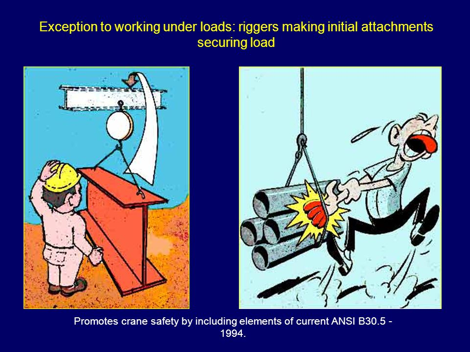 Promotes crane safety by including elements of current ANSI B30.5 - 1994. Exception to working under loads: riggers making initial attachments securin