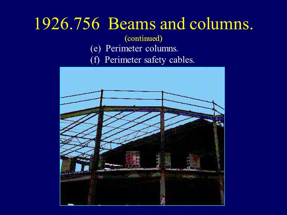 (e) Perimeter columns. (f) Perimeter safety cables.
