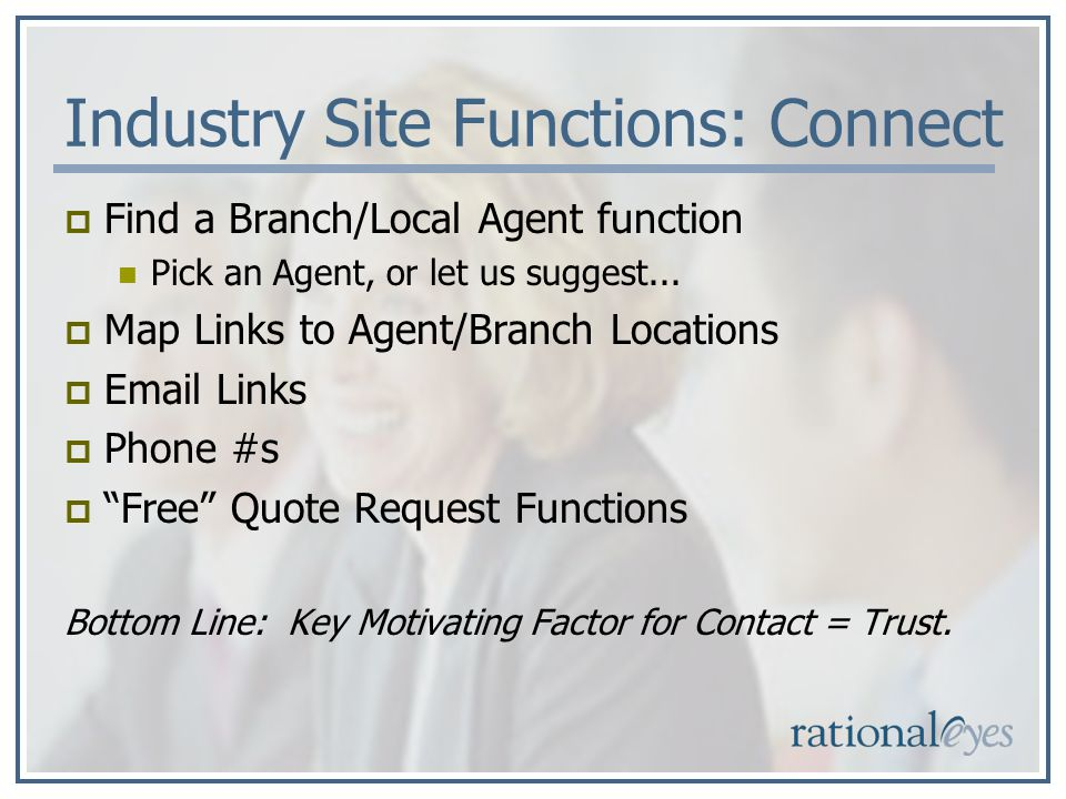 Industry Site Functions: Connect Find a Branch/Local Agent function Pick an Agent, or let us suggest...