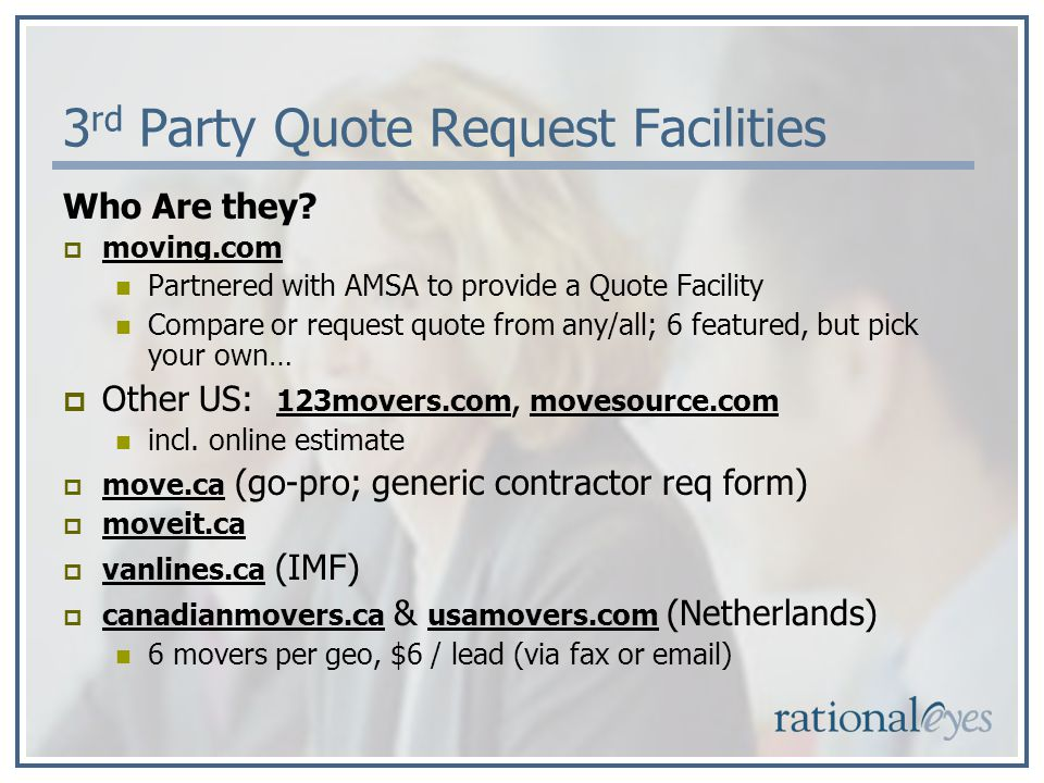 3 rd Party Quote Request Facilities Who Are they.