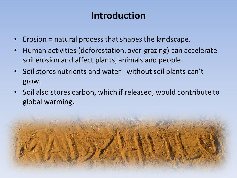 Introduction Erosion = natural process that shapes the landscape.