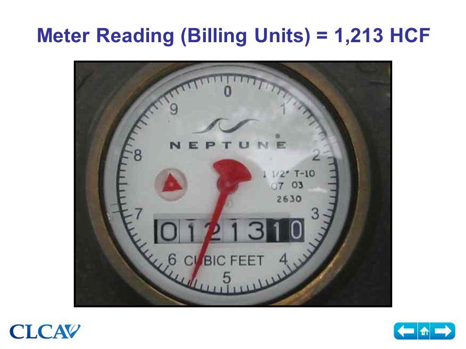 Meter Reading (Billing Units) = 1,213 HCF