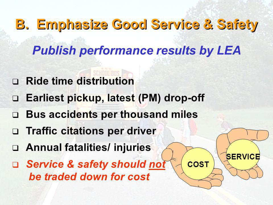 B. Emphasize Good Service & Safety Publish performance results by LEA COST SERVICE Ride time distribution Earliest pickup, latest (PM) drop-off Bus ac