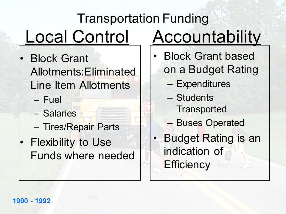 Transportation Funding Local Control Accountability Block Grant Allotments:Eliminated Line Item Allotments –Fuel –Salaries –Tires/Repair Parts Flexibility to Use Funds where needed Block Grant based on a Budget Rating –Expenditures –Students Transported –Buses Operated Budget Rating is an indication of Efficiency 1990 - 1992