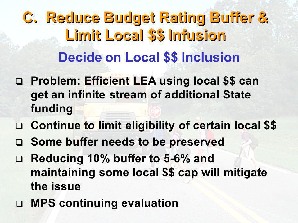 C. Reduce Budget Rating Buffer & Limit Local $$ Infusion Problem: Efficient LEA using local $$ can get an infinite stream of additional State funding