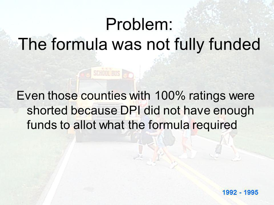 Problem: The formula was not fully funded Even those counties with 100% ratings were shorted because DPI did not have enough funds to allot what the f