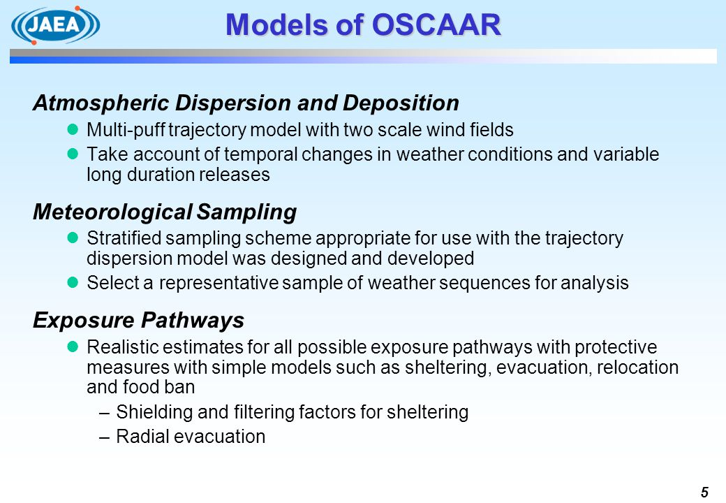 5 Models of OSCAAR Atmospheric Dispersion and Deposition Multi-puff trajectory model with two scale wind fields Take account of temporal changes in we