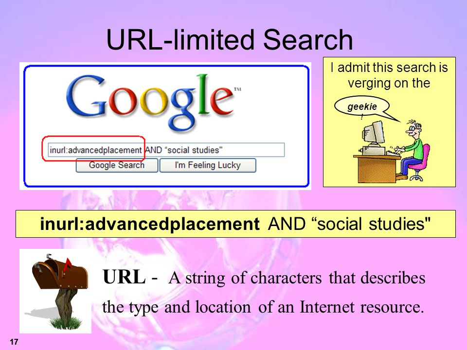 17 URL-limited Search URL - A string of characters that describes the type and location of an Internet resource. inurl:advancedplacement AND social st