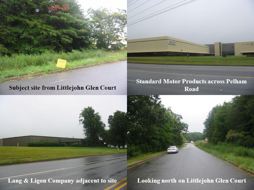 Subject site from Littlejohn Glen Court Standard Motor Products across Pelham Road Lang & Ligon Company adjacent to siteLooking north on Littlejohn Glen Court