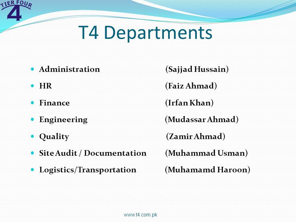 T4 Departments www.t4.com.pk Administration (Sajjad Hussain) HR (Faiz Ahmad) Finance (Irfan Khan) Engineering (Mudassar Ahmad) Quality (Zamir Ahmad) Site Audit / Documentation (Muhammad Usman) Logistics/Transportation (Muhamamd Haroon)