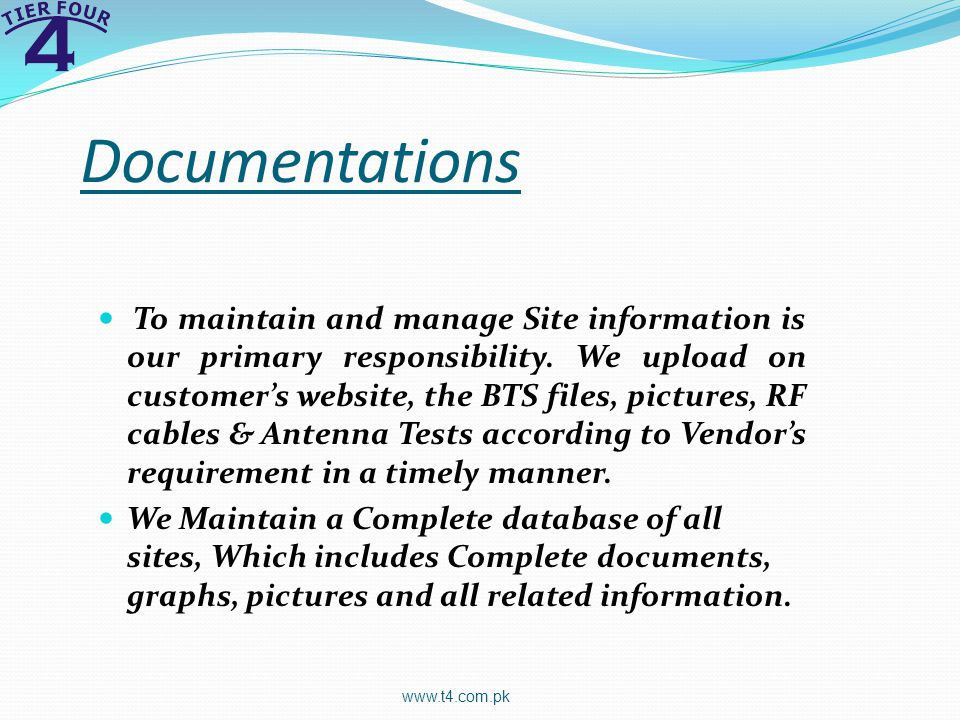 Documentations To maintain and manage Site information is our primary responsibility.