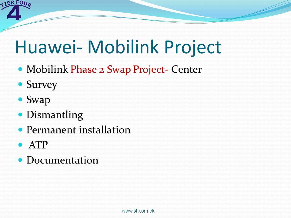 Huawei- Mobilink Project Mobilink Phase 2 Swap Project- Center Survey Swap Dismantling Permanent installation ATP Documentation www.t4.com.pk