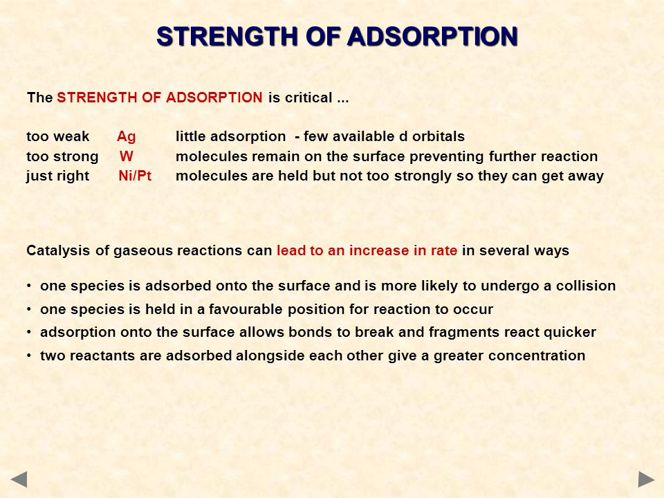 STRENGTH OF ADSORPTION The STRENGTH OF ADSORPTION is critical... too weak Ag little adsorption - few available d orbitals too strong W molecules remai