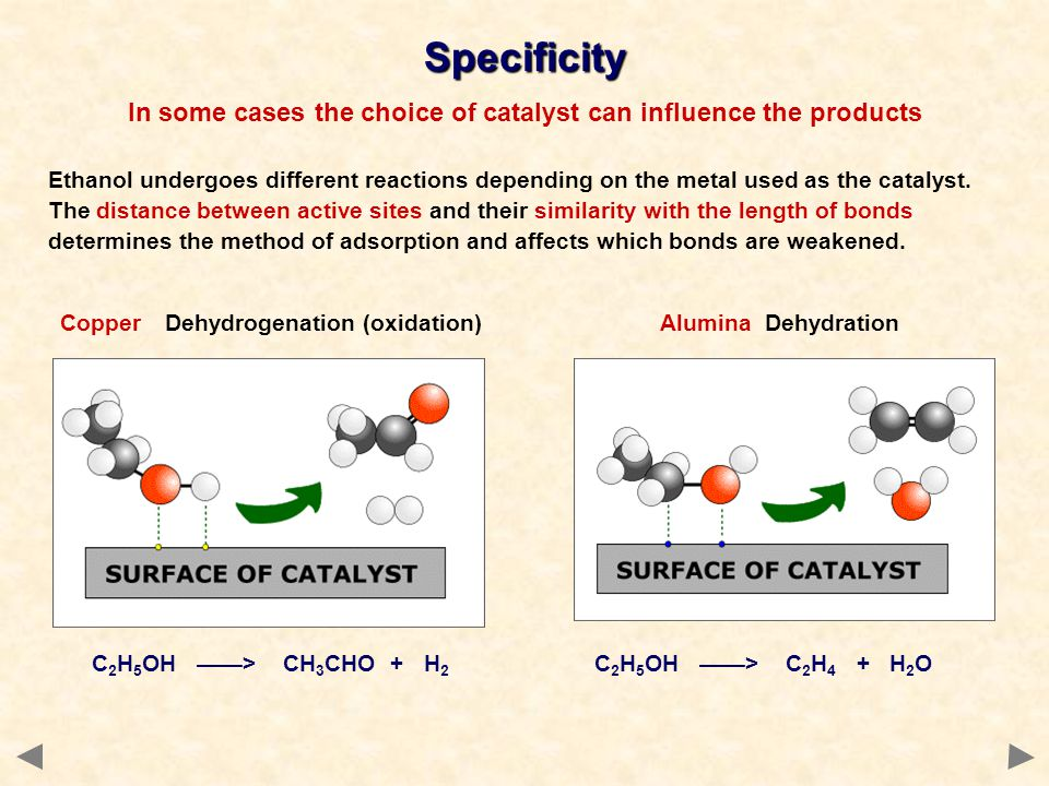 Specificity In some cases the choice of catalyst can influence the products C 2 H 5 OH > CH 3 CHO + H 2 C 2 H 5 OH > C 2 H 4 + H 2 O Ethanol undergoes