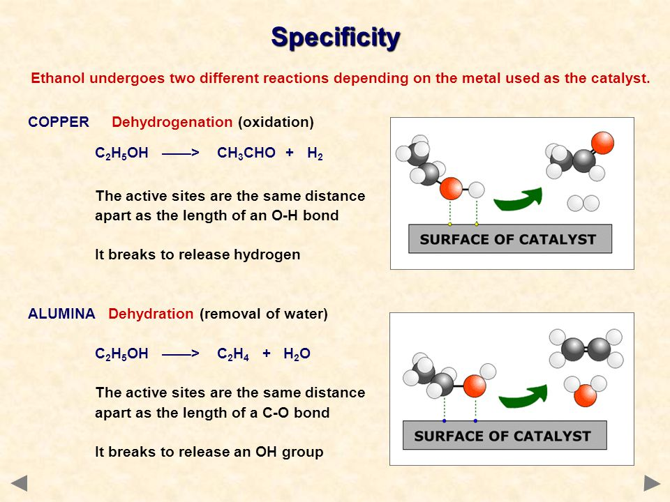 Ethanol undergoes two different reactions depending on the metal used as the catalyst. COPPER Dehydrogenation (oxidation) C 2 H 5 OH > CH 3 CHO + H 2