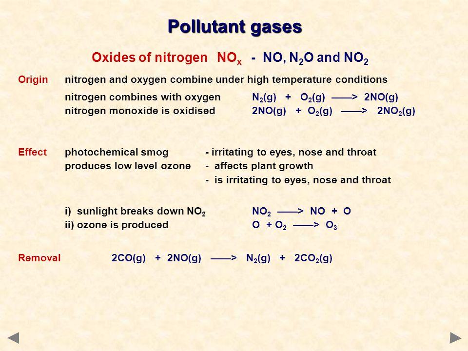 Pollutant gases Oxides of nitrogen NO x - NO, N 2 O and NO 2 Originnitrogen and oxygen combine under high temperature conditions nitrogen combines wit