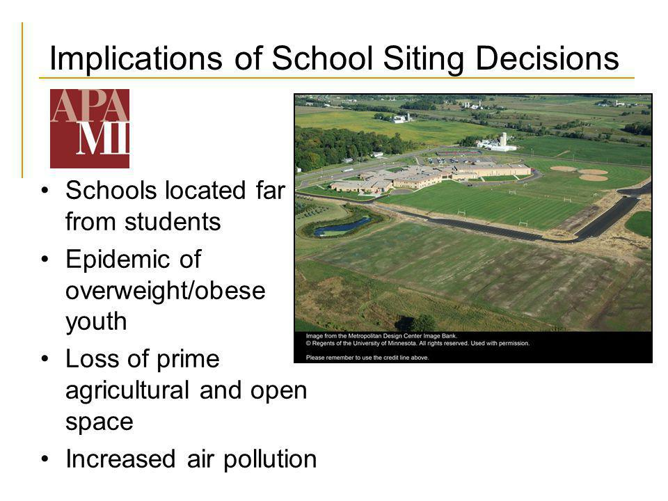 Implications of School Siting Decisions Schools located far from students Epidemic of overweight/obese youth Loss of prime agricultural and open space Increased air pollution