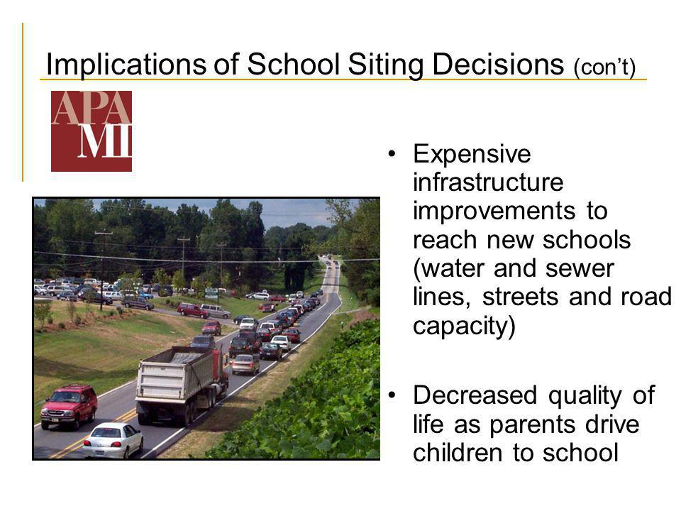 Implications of School Siting Decisions (cont) Expensive infrastructure improvements to reach new schools (water and sewer lines, streets and road cap