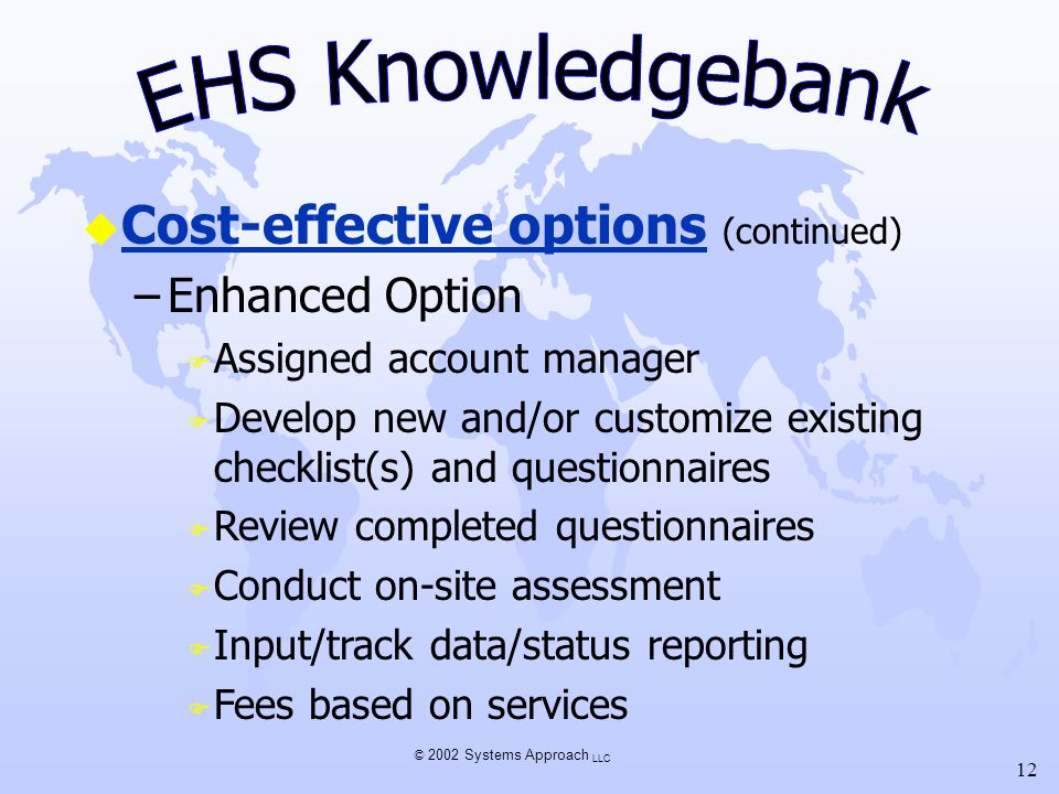 © 2002 Systems Approach LLC 12 u Cost-effective options (continued) –Enhanced Option F Assigned account manager F Develop new and/or customize existin