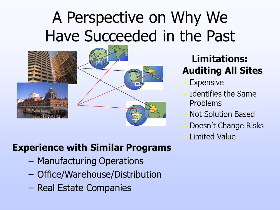 A Perspective on Why We Have Succeeded in the Past Auditing All Sites F Expensive F Identifies the Same Problems F Not Solution Based F Doesnt Change Risks F Limited Value –Manufacturing Operations –Office/Warehouse/Distribution –Real Estate Companies Experience with Similar Programs Limitations: