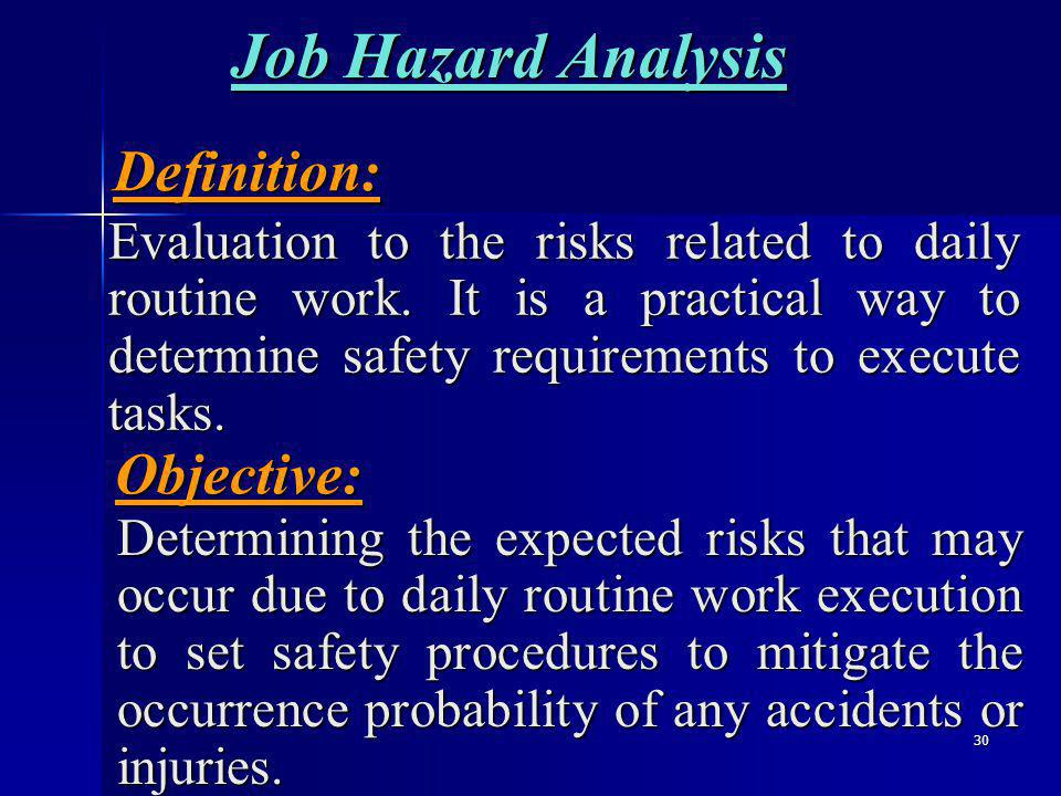 30 Job Hazard Analysis Evaluation to the risks related to daily routine work.