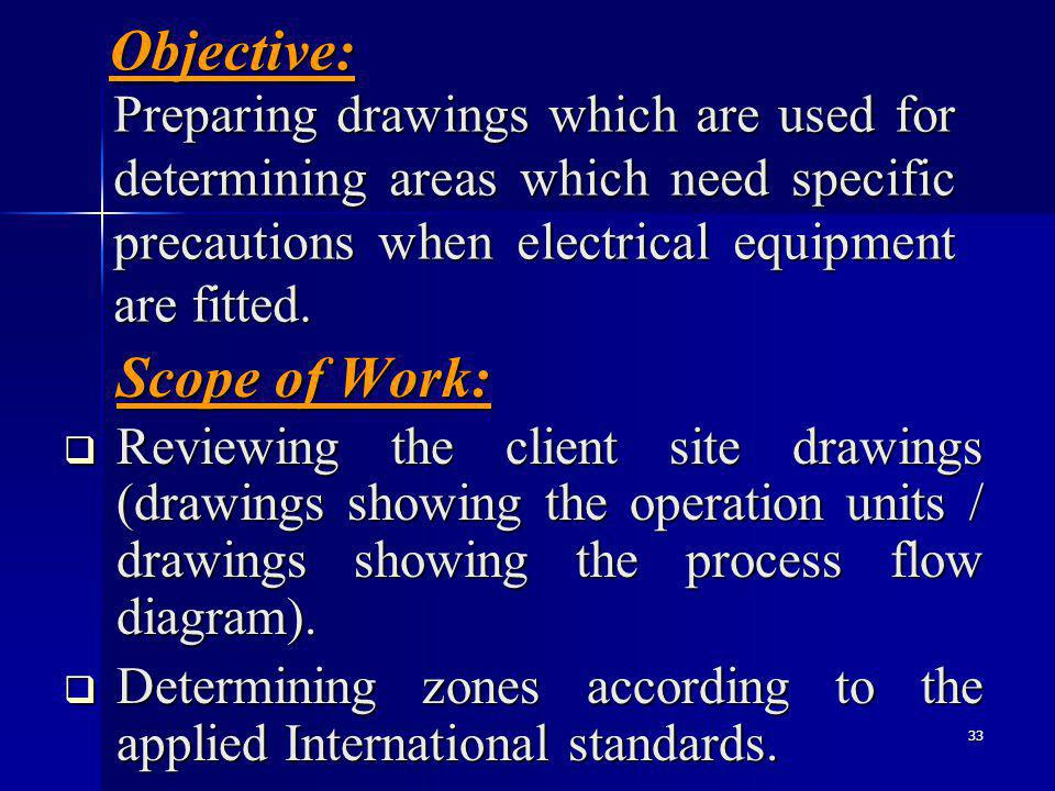 33 Objective: Scope of Work: Preparing drawings which are used for determining areas which need specific precautions when electrical equipment are fitted.