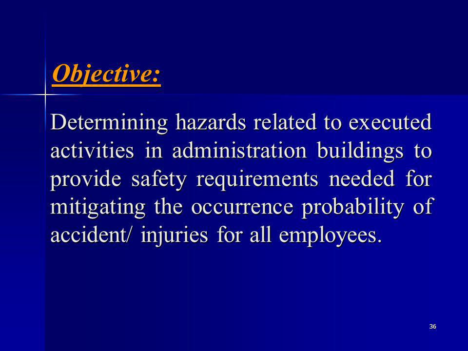 36 Determining hazards related to executed activities in administration buildings to provide safety requirements needed for mitigating the occurrence probability of accident/ injuries for all employees.