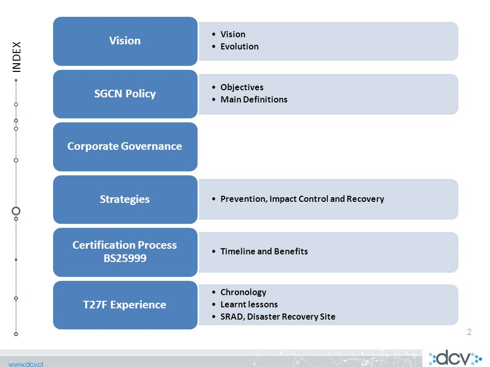 Vision Evolution Vision Objectives Main Definitions SGCN PolicyCorporate Governance Prevention, Impact Control and Recovery Strategies Timeline and Benefits Certification Process BS25999 Chronology Learnt lessons SRAD, Disaster Recovery Site T27F Experience 2 INDEX