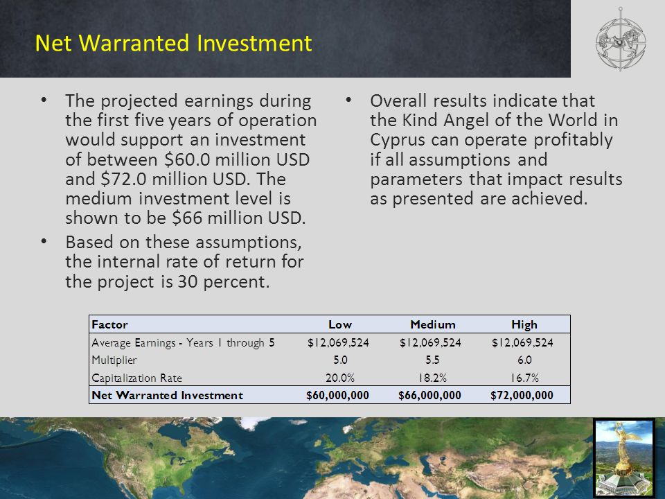 Net Warranted Investment The projected earnings during the first five years of operation would support an investment of between $60.0 million USD and $72.0 million USD.