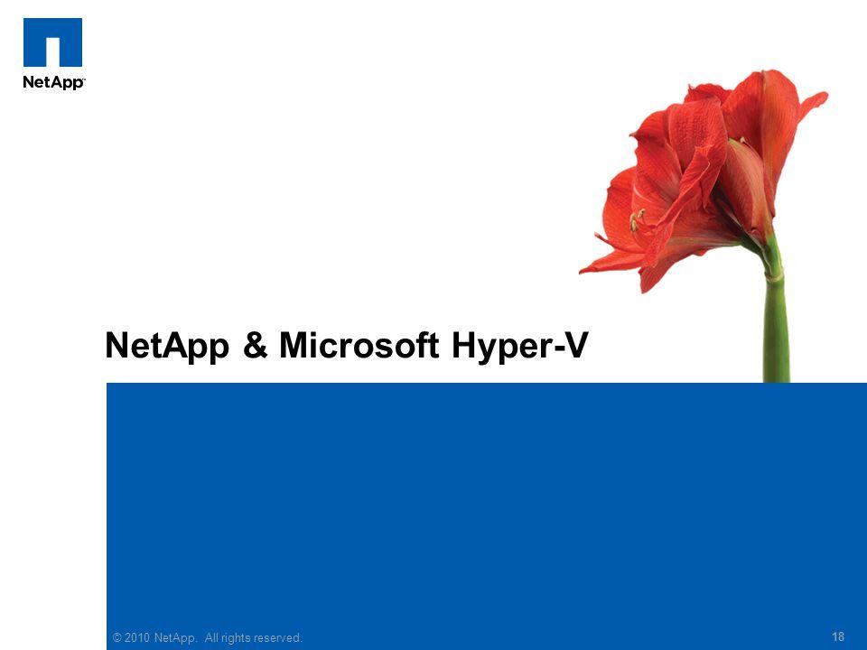 © 2010 NetApp. All rights reserved. 18 NetApp & Microsoft Hyper-V