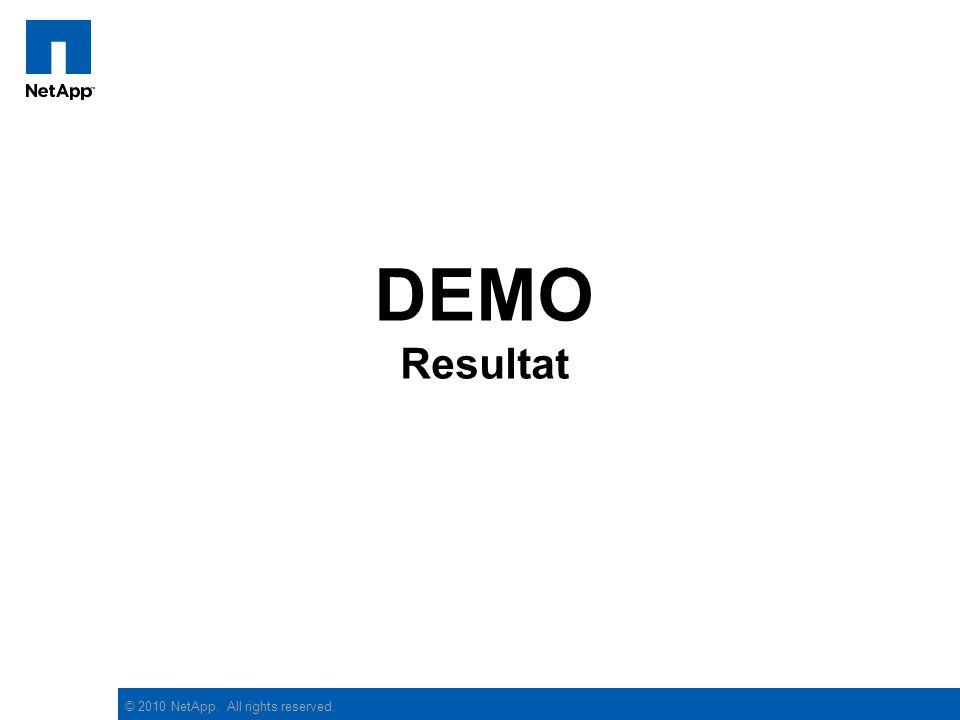 © 2010 NetApp. All rights reserved. DEMO Resultat