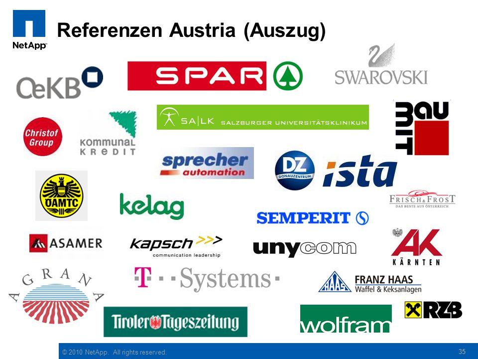 © 2010 NetApp. All rights reserved. Referenzen Austria (Auszug) 35