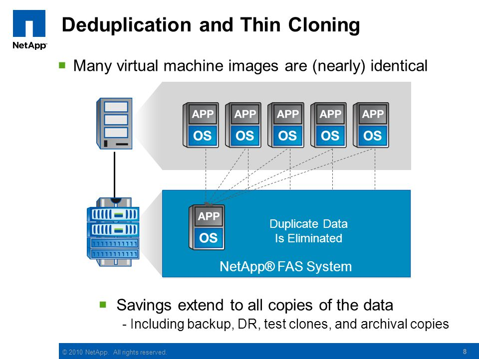 © 2010 NetApp. All rights reserved. 8 Deduplication and Thin Cloning 8 Many virtual machine images are (nearly) identical Traditional Enterprise RAID