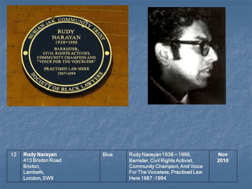 12Rudy Narayan 413 Brixton Road Brixton, Lambeth, London, SW9 BlueRudy Narayan 1938 – 1998, Barrister, Civil Rights Activist, Community Champion, And