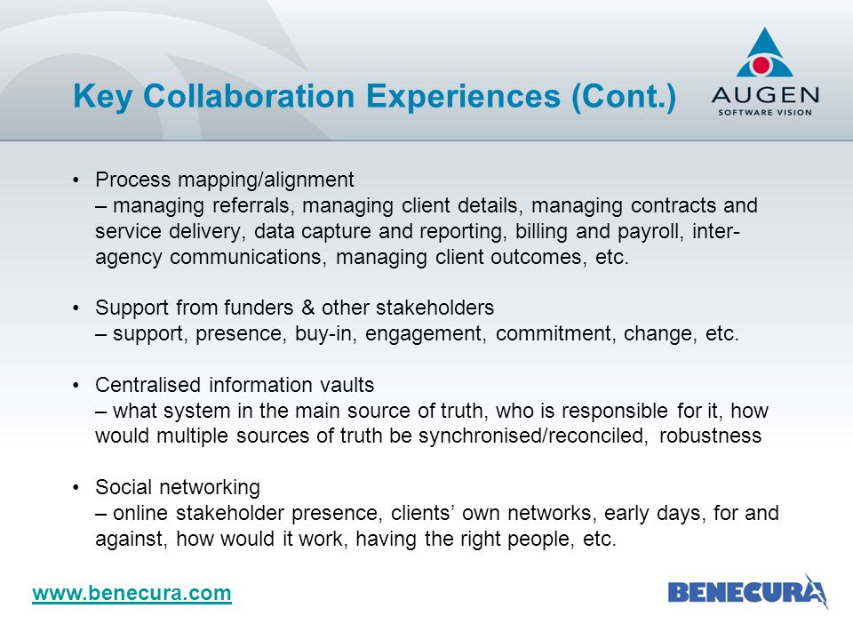 www.benecura.com Same system and data structure Sharing knowledge/experience, queries, reports, best practice, etc.