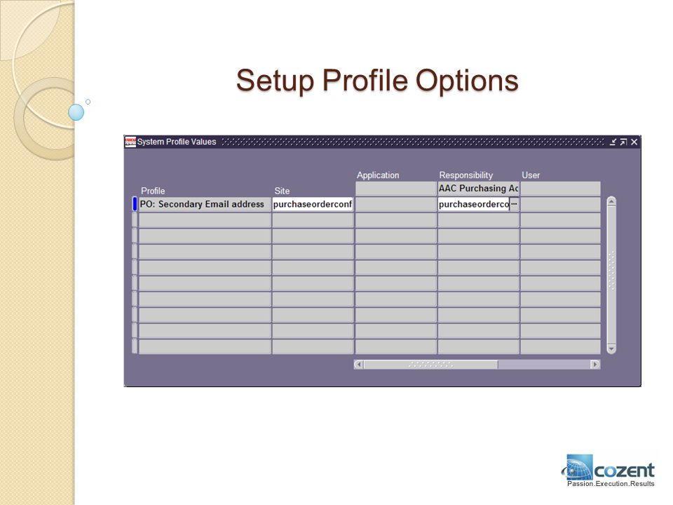 Setup Profile Options
