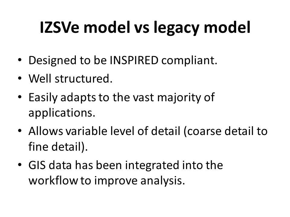 IZSVe model vs legacy model Designed to be INSPIRED compliant.