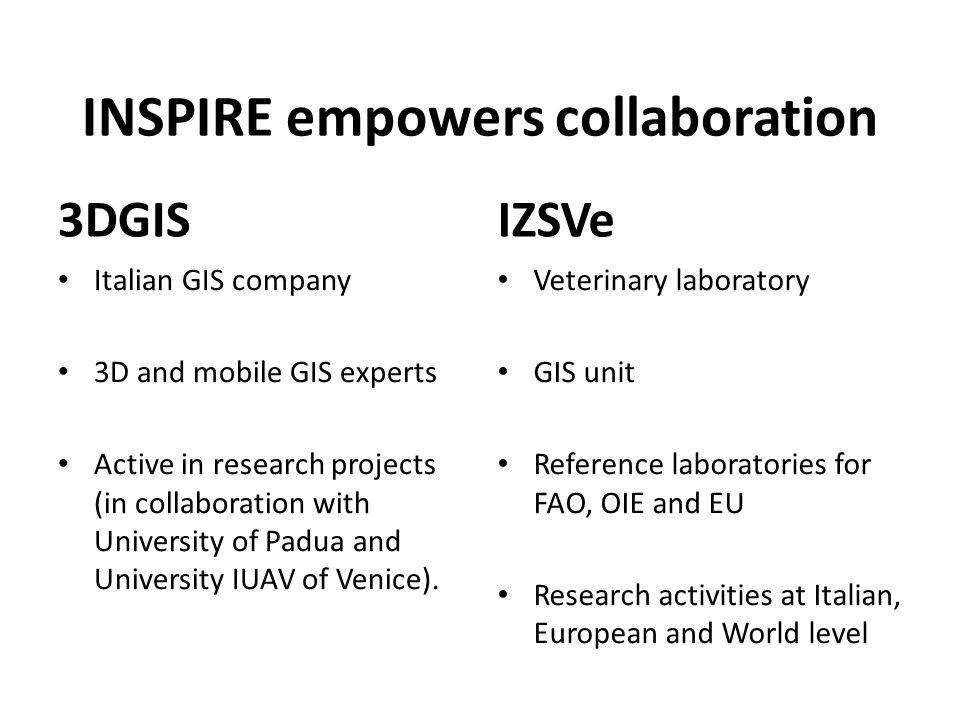INSPIRE empowers collaboration 3DGIS Italian GIS company 3D and mobile GIS experts Active in research projects (in collaboration with University of Pa