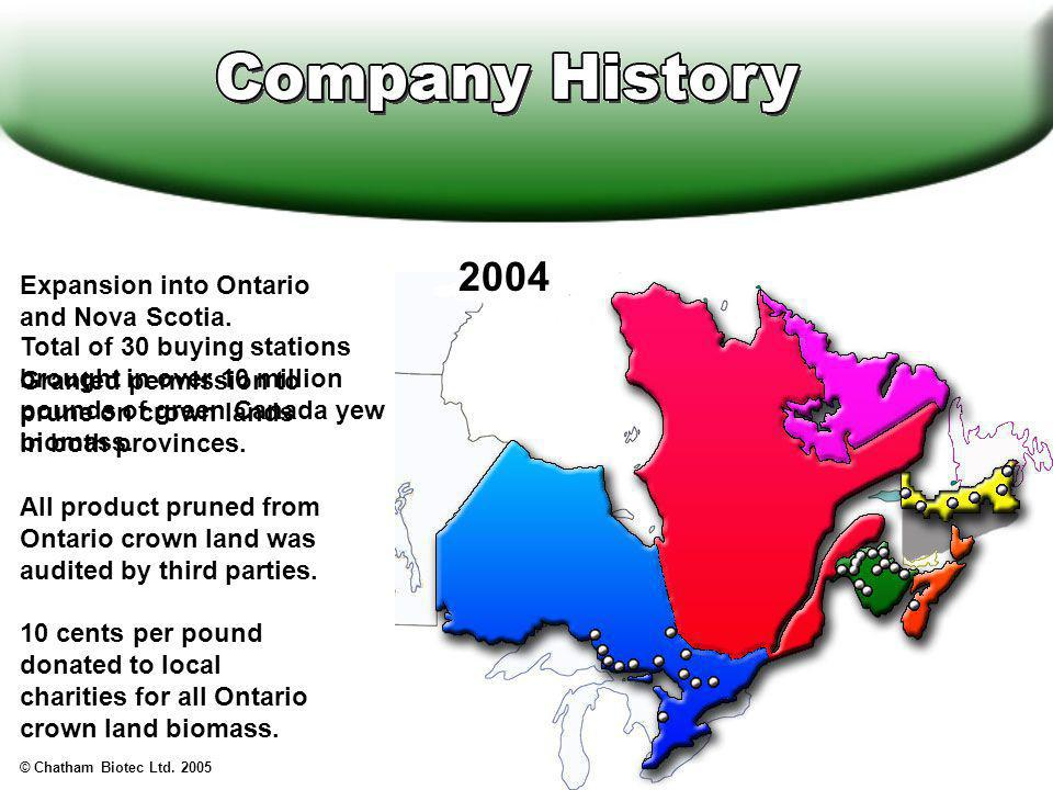 Expansion into Ontario and Nova Scotia.