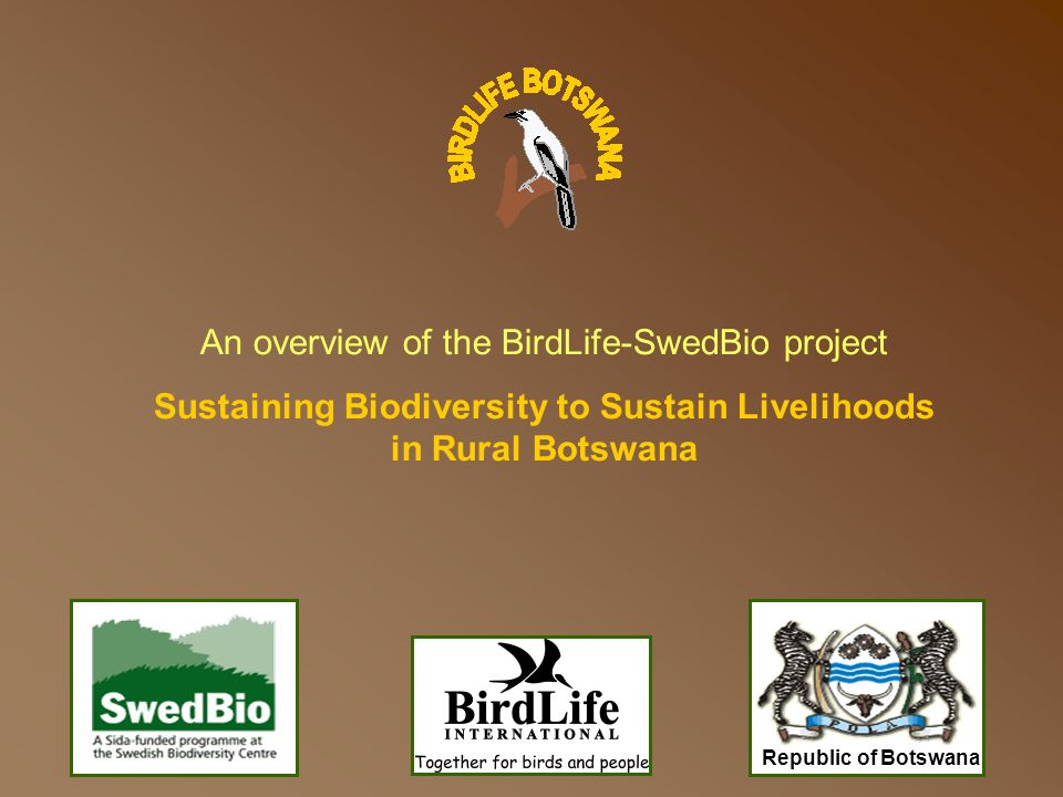About the Project Title: Sustaining Biodiversity to Sustain Livelihoods in Rural Botswana To enhance the conservation of three Important Bird Areas (IBAs) and their associated biodiversity while improving rural livelihoods in the surrounding areas In simple terms, the GOAL is: