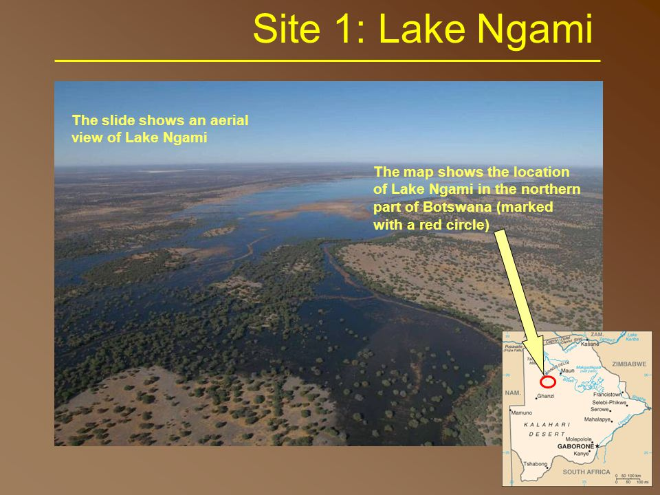 Site 1: Lake Ngami The map shows the location of Lake Ngami in the northern part of Botswana (marked with a red circle) The slide shows an aerial view of Lake Ngami