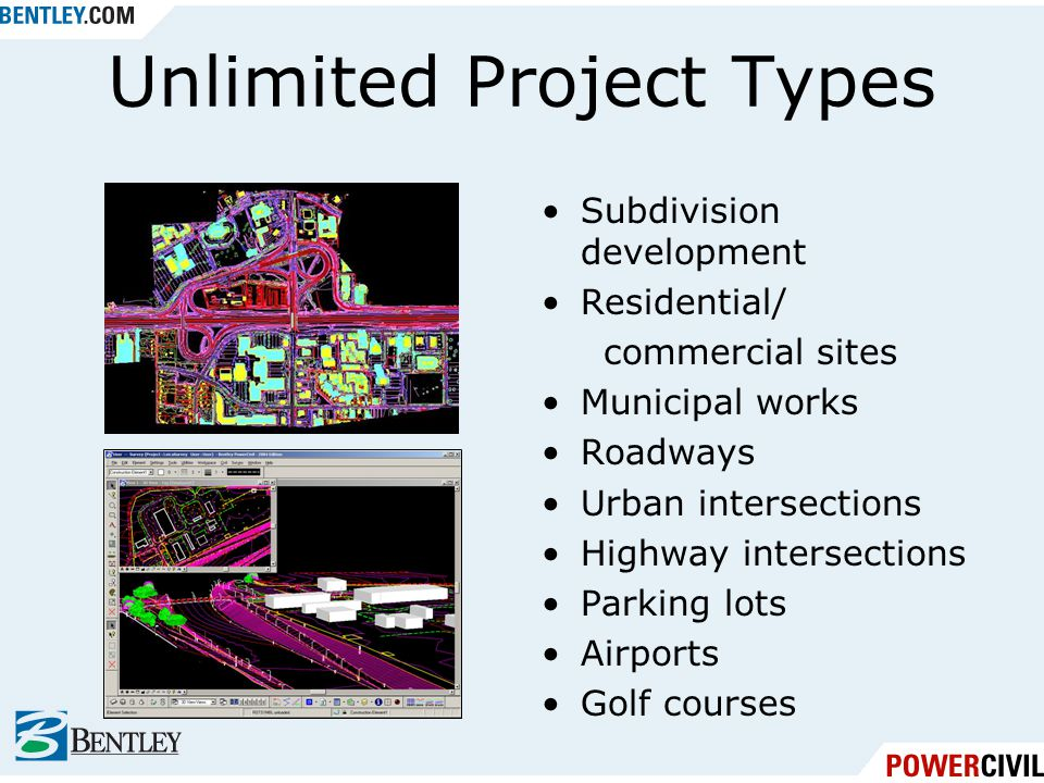 PowerCivil Subdivisions, commercial sites, and campuses Roadwork and intersections complementing a highway interchange